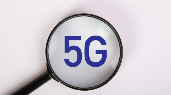 Magnifying glass with 5G text